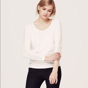 LOFT Open Stitch Sleeve Sweater in Spring Mint